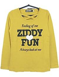 ZIDDY(ジディー) 天竺センタークロス長袖Tシャツ (140-F:160)★1235-96051/イエロー08