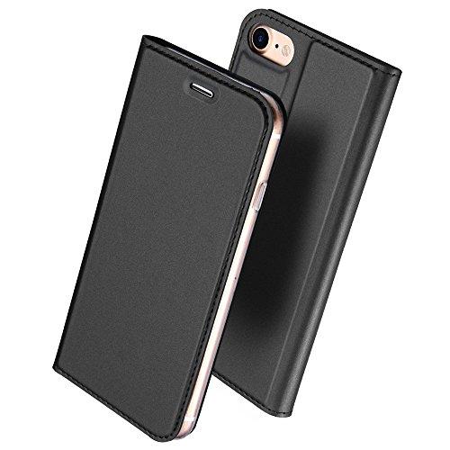 iphone6s ケース 手帳型 高級PU レザー iPhone6 ケース カバー 耐衝撃 カード収納 マグネット スタンド 機能付き 耐摩擦 人気 おしゃれ アイフォン6 手帳型ケース (iPhone6s/6, ブラック)