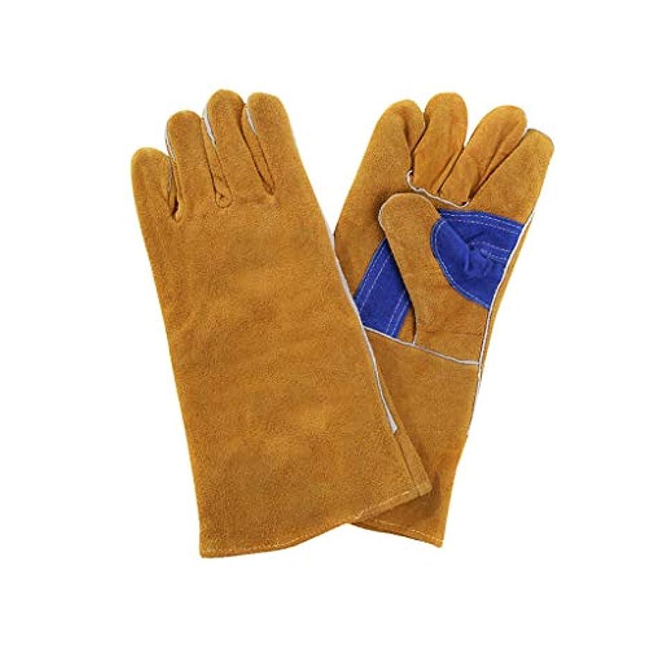 よく話される精神面白い溶接手袋、牛革耐熱性耐摩耗性耐熱断熱材長火線ガントレット
