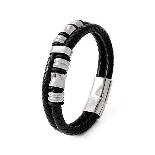 【SIMPS】ブレスレット 腕輪 二連ブレスレット メンズ ブラックレザー ジュエリー サージカルステンレス アクセサリー 編みこみ 19cm 化粧箱 クリーニングクロス付き 【正規品】