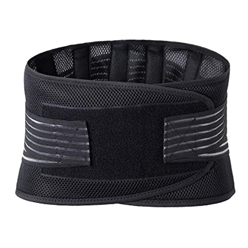 繊毛同行つまらないランバーウエストサポートバックブレースベルトウエストサポートブレースフィットネススポーツ保護姿勢コレクター再構築 - ブラック