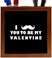 Rikki Knight I Mustache You To Be My Valentine Black Color Design 5-Inch Tile Wooden Tile Pen Holder (RK-PH42932) [並行輸入品]