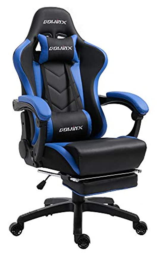 拳有能な素人Dowinx ゲーミングチェア/オフィスチェア/ゲーム用チェア リクライニング 人間工学 伸縮可能のフットレスト マッサージ機能腰痛対策 調節可能ランバーサポート (ブラック&ブルー) LS-668804