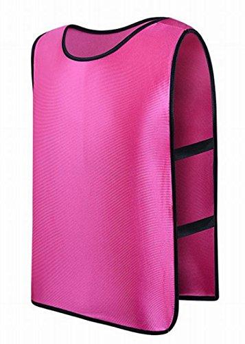 ビブス 5枚セット メタリックカラー 無地 吸汗速乾 ドライメッシュ サイド ストレッチゴム 付 フリーサイズ (ピンク)