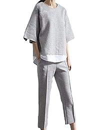 MIKOO レイヤード 風 シャツ スウェット ゆったり カジュアル パンツスーツ レディース 上下 2点 セットアップ