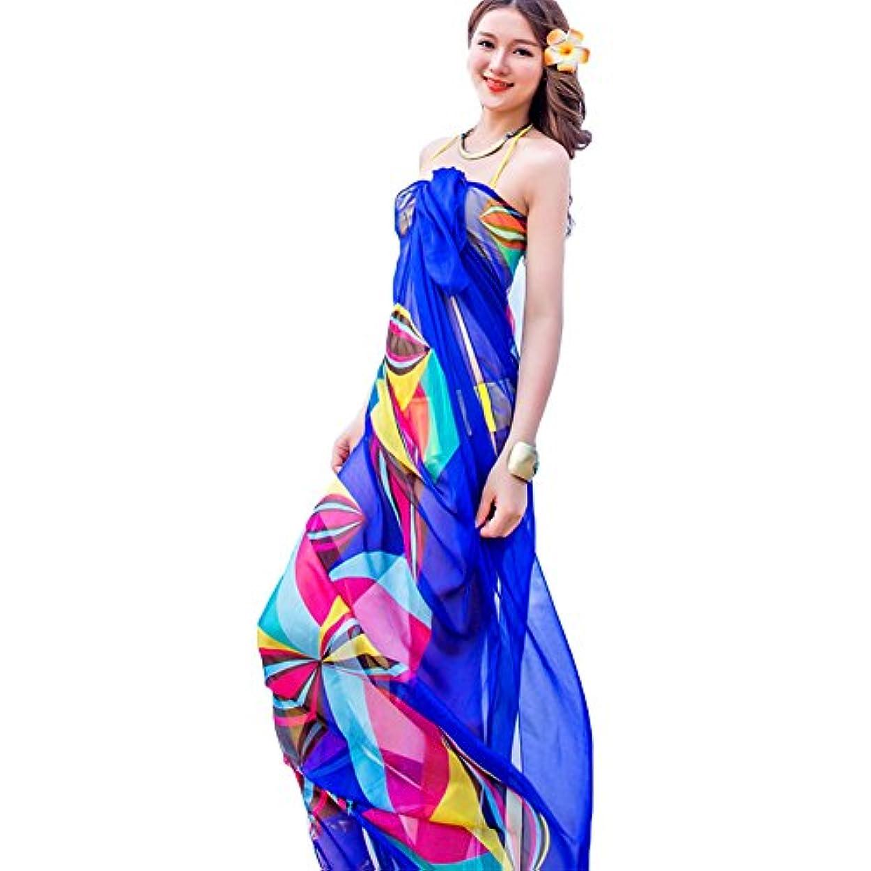 アリミシンエコーLiebeye スカーフ 女性 スタイリッシュ 幾何学 印刷 明るい色 ビーチ サンスクリーン 190cm*140cm