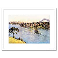 Painting Cityscape Sydney Harbour Bridge Australia Ferry Framed Wall Art Print ペインティング都市景観港ブリッジオーストラリア壁