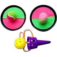 [ラウンド、紫の]クラシックキッズトスとキャッチボールゲームセットキャッチボールおもちゃセット