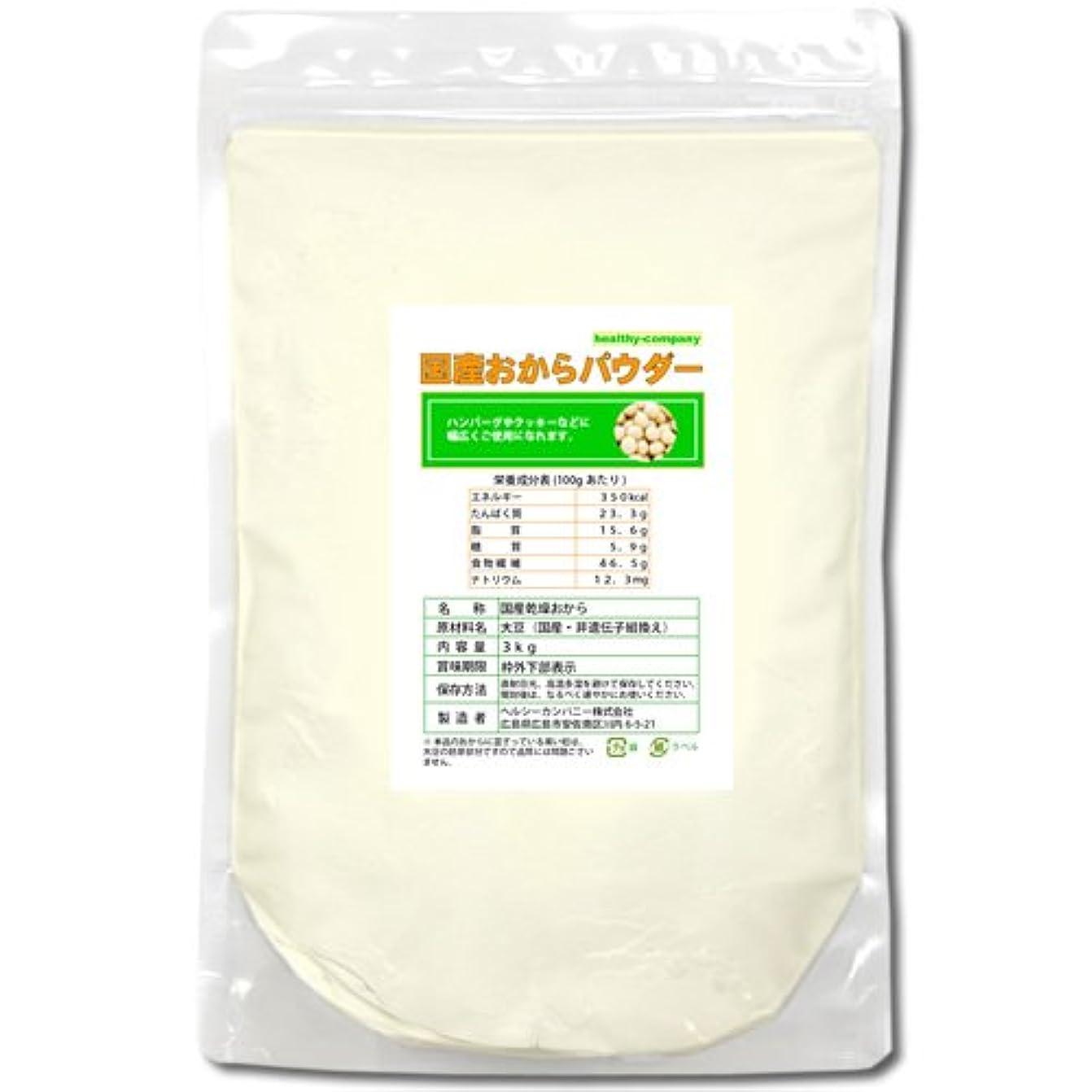 視力地中海槍国産大豆100%おからパウダー3kg(乾燥 粉末 ヘルシーカンパニー)