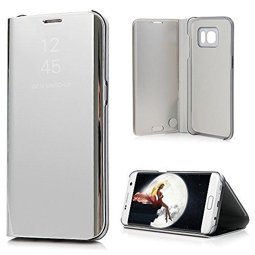 Samsung Galaxy S7 Edge ケース ミラー 鏡面 手帳型 高級PUレザーとPC素材 スタンド機能 マグネット開閉式 スマホケース カワイイ おしゃれカバー ギャラクシー S7 エッジ...