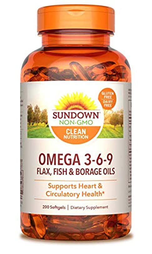 アラーム静的円形のRexall Sundown Naturals, Triple Omega 3-6-9, 200 Softgels