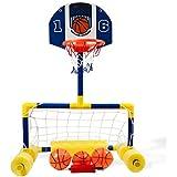 Dimple マルチスポーツ用 フローティングバスケットボール サッカーゴール プールセット ネット2枚 ゴムボール3個 ポンプ付き とても楽しい