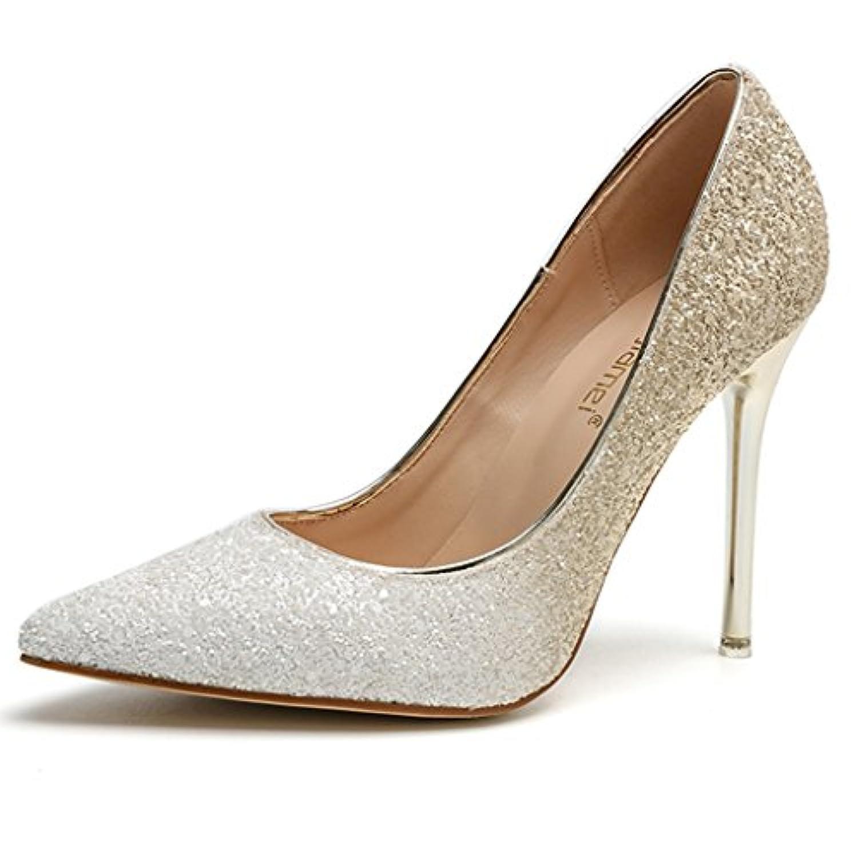 女性の夏ハイヒールファインシューズクリスタル結婚式の靴花嫁介添人の花嫁の靴ショッピングシューズを指摘 (Color : 白, Size : 35)