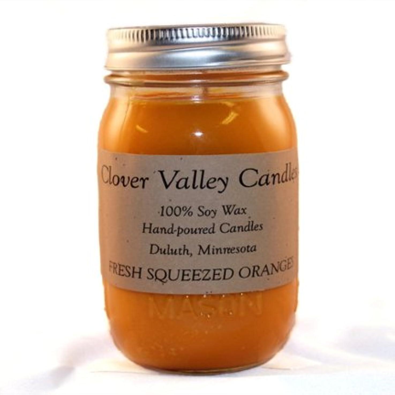 ありがたい愛国的な読者Fresh Squeezed Oranges Pint香りつきSoy Candle byクローバーValleyキャンドル