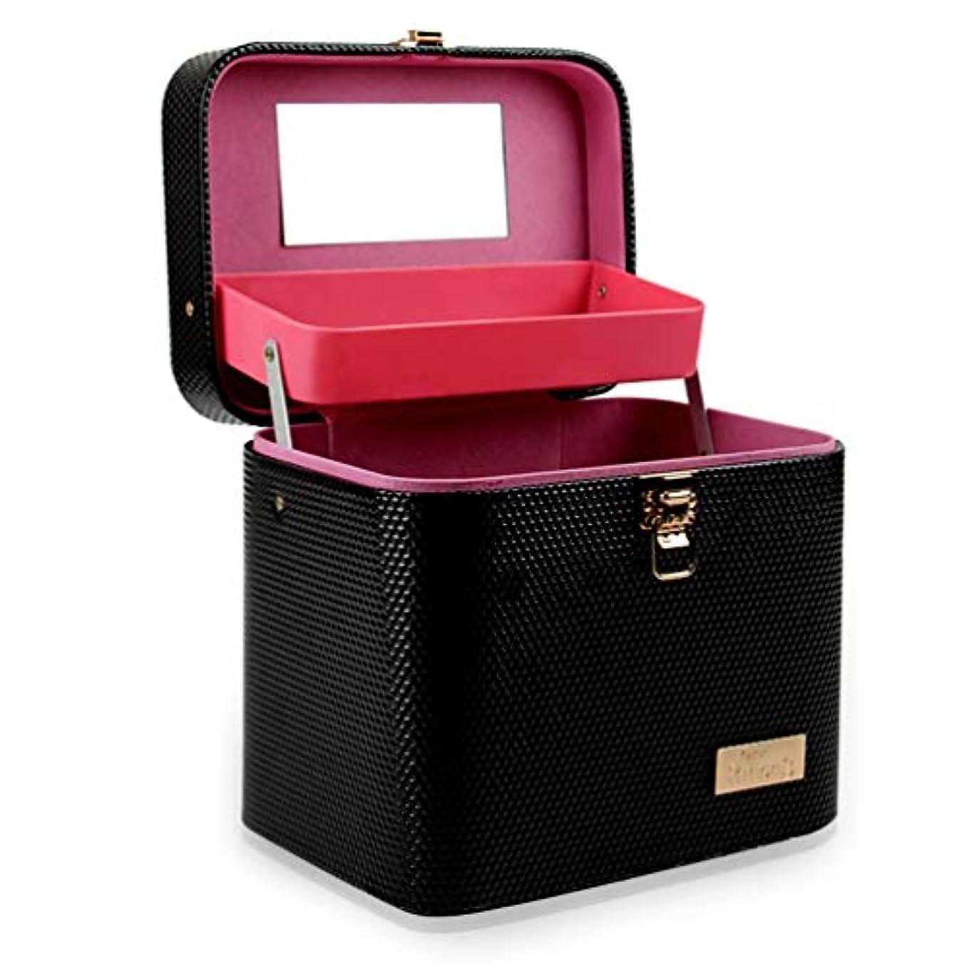 生き残ります乱れ完全に[カタク]メイクボックス コスメボックス 大容量 鏡付き 2段タイプ 化粧ボックス おしゃれ 取っ手付 携帯便利 化粧道具 メイクブラシ 小物 出張 旅行 機能的 PUレザー プロ仕様 化粧ポーチ コスメBOX