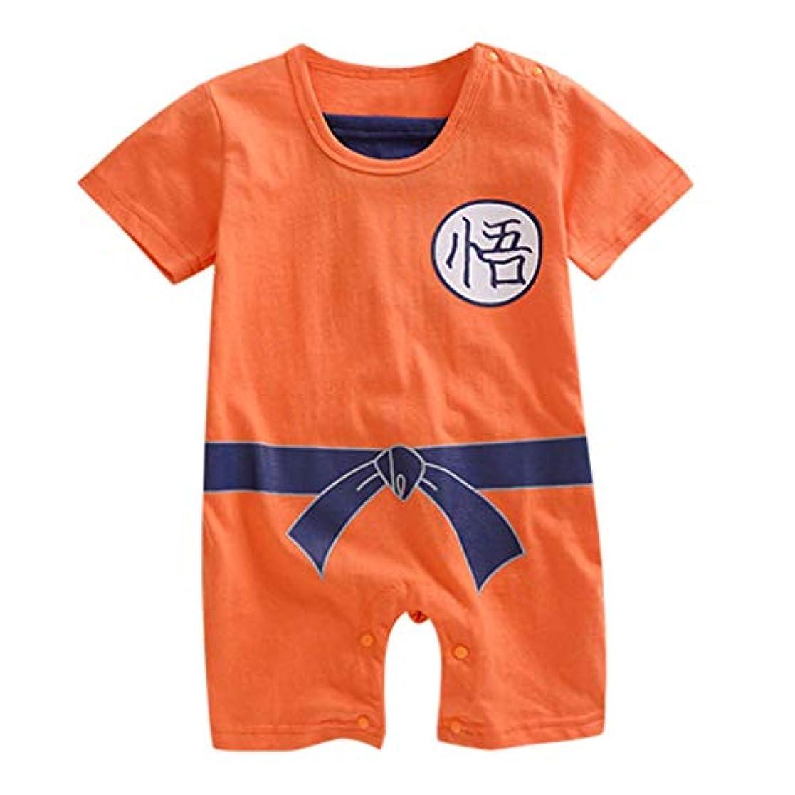 無効にするとまり木楽観ベビー服 ロンパース カバーオール 着ぐるみ 生まれたばかりの赤ちゃんの女の子の男の子子供漫画プリント半袖ロンパースコスチュームボディスーツ
