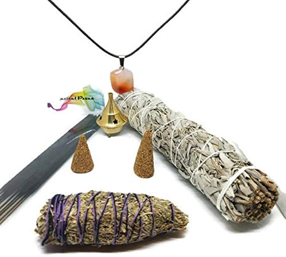 特定の精査他の日古代プラナホワイトセージ、デザートセージ、ラベンダー、コパルとパロサントのお香とコーンのスマッジスティックキット お香立てと広く選ばれたチャクラストーンが含まれています。