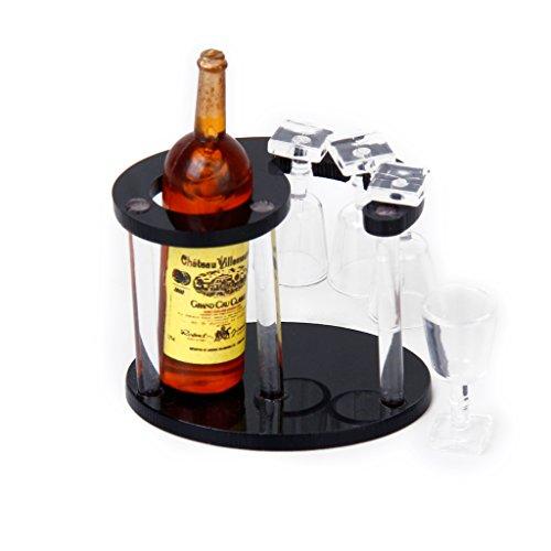 セット ドールハウス シャンパン ワインボトルラック ガラス四つ付き 1/12 手作り アクセサリー