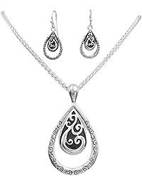Simple Pendant Silver Tone Boutique Style Statement Necklace & Dangle Earring Set (Double Teardrop)