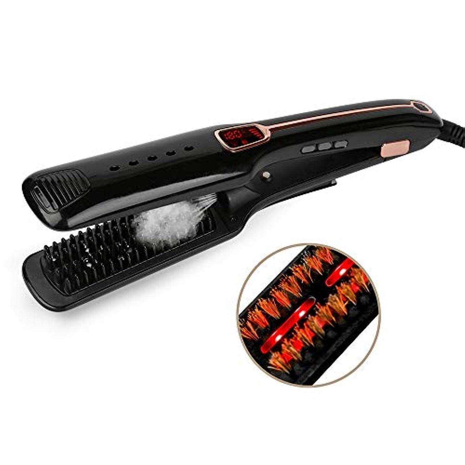 タイルブルゴーニュソブリケット多機能の蒸気赤外線陰イオンのストレートヘアコーム、1ストレートヘアアイロンに付き3 モデリングツール (色 : 黒)