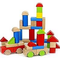 QLL 赤ちゃん用木製ブロックおもちゃ 50個 マルチカラー 幾何学模様組み立てブロック ブナ材学習 教育 ユニセックス 幼児