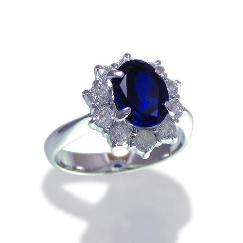 ダイアナリング/ダイヤモンド ブルーサファイアCZ プラチナカラー/指輪 ring/レディース ギフト プレゼント 【11号】