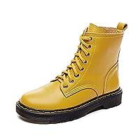 [SENNIAN] ショート ブーツ ローヒール ブーツ ラウンドトゥ アンクル 23.5cm ブーツ マーチンブーツ 秋ブーツ ブーティ ハイヒール 太ヒール チャンキーヒール 歩きやすい 合わせやすい 美脚 脚長 イエロー 定番 無地 欧米風 クール