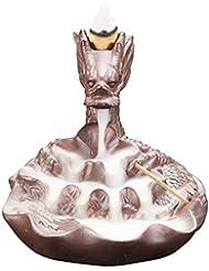 芳香器?アロマバーナー 紫色の粘土逆流香バーナー家の装飾ドラゴン香ホルダー香炉逆流香炉スティックホルダー飾り アロマバーナー芳香器 (Color : B)