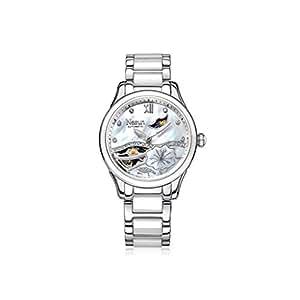 機械的な腕時計中空ファッションセラミックレディース腕時計、バタフライボタンクラスプと女性のための腕時計、防水30M防水時計 (色 : シルバー しるば゜)
