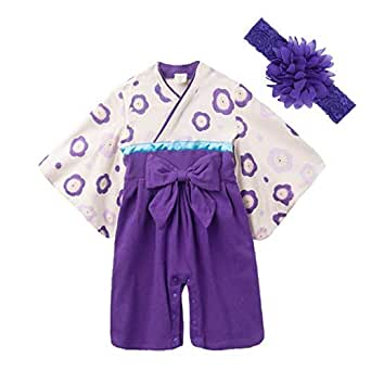 JUST style 袴 ロンパース (花飾り付き) カバーオール 和服 和装 新生児 男の子 女の子 (70cm,パープル)