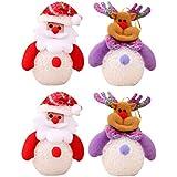 Amosfun 4Pcs Christmas Acrylic Light Christmas Figure Nigth Light LED Lights for Home Table Decor Party Gift