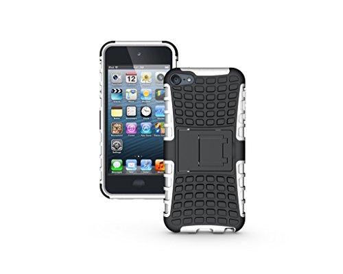 ipod touch 第6 5世代 ケースカバー かっこいい【Ourkens】スタンド機能付 TPU+PC製 背面カバー 保護ケース 対応 人気 アイポッド タッチ6 カバー 4.0インチ(ホワイト)