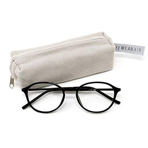 アイウェアエア 35歳からのスマホ老眼鏡 軽量しなやかフレーム ボストン ピアノブラック +1.00