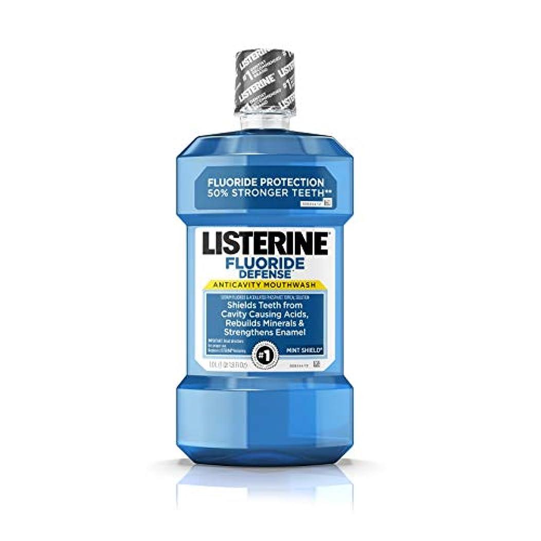 トランペット野ウサギ予算Listerine フッ化物防衛虫歯予防マウスウォッシュ、ミントシールド、1 L