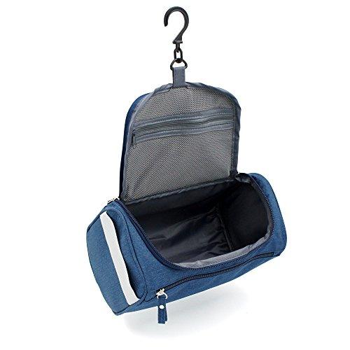 BRUSMO バスルームポーチ トラベルポーチ フック付き 旅行用品 (ジャカード, ブルー)