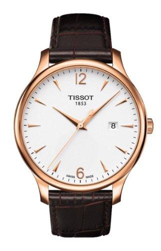 ティソMen 's Tradition t063.610.36.037.00ブラウンレザースイスクォーツウォッチホワイトダイヤル