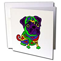 All Smilesアートペット – Funny Colorful Popアート元パグ子犬犬 – グリーティングカード Individual Greeting Card
