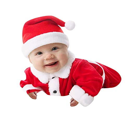 0066238ffa30c BOLUOYI 10代の女の子用 ジャンプスーツ 幼児 赤ちゃん 男の子 女の子 クリスマス フリース トップス プルオーバー パンツ 帽子 服セット  70 レッド romper .
