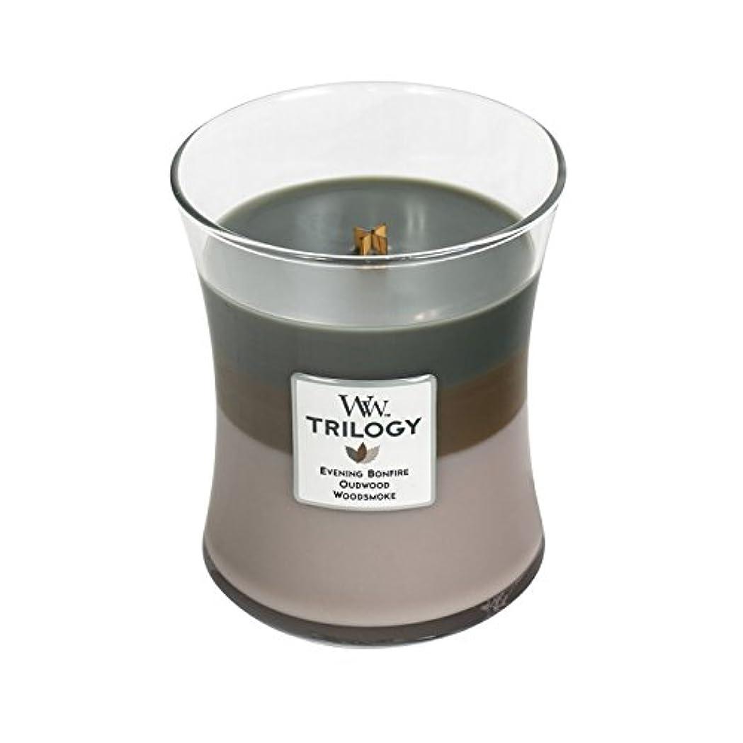 最少理論橋Woodwick Trilogy Cozy Cabin、3 - in - 1 Highly Scented Candle、クラシック砂時計Jar、Medium 4インチ、9.7 Oz