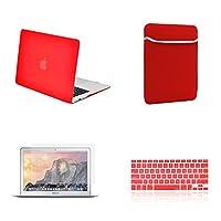 TOP CASE お得な4点セット - MacBook Air 13インチ用 ゴム引きハードケース 同色キーボードカバー 液晶画面保護フィルム スリーブバッグ Macbook Air 13-Inch 13A-M-RD-4-IN-1