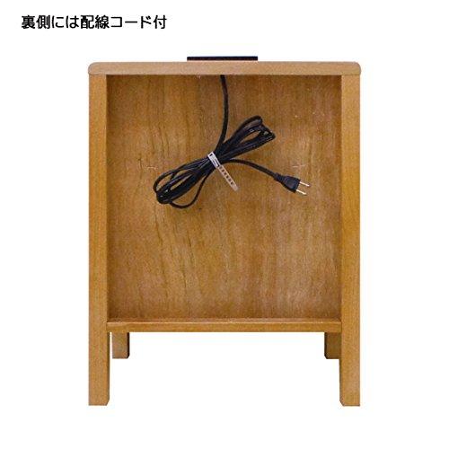 ミニクル ナイトテーブル 木製 アルダー無垢 幅40cm 2口コンセント付 ナチュラル -