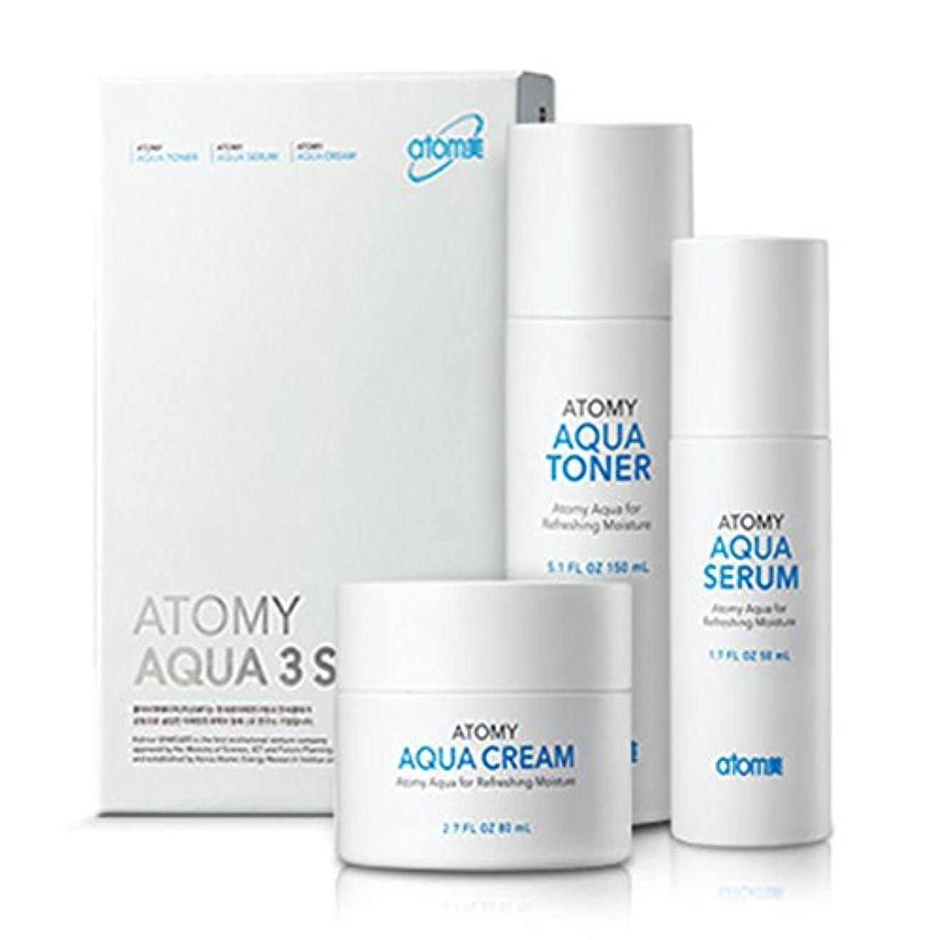 [Atom美 アトミ/ Atomy] AQUA 3-piece set Waterfull Toner, Serum, Cream/アクア水分3点セット+[Sample Gift](海外直送品)