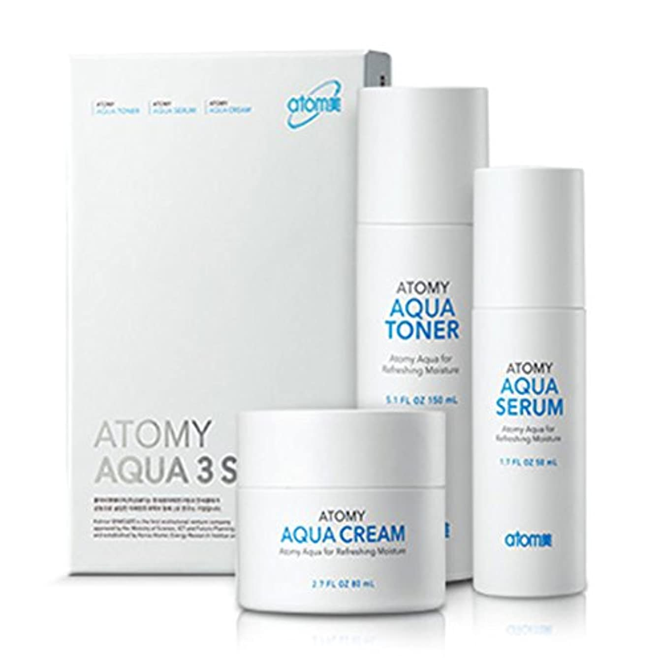 [Atom美 アトミ/ Atomy] AQUA 3-piece set Waterfull Toner, Serum, Cream/アクア水分3点セット+[Sample Gift](海外直送品)