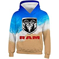 COOTAKI Do-d-ge R-AM Car Logo 3D Graphic Printed Boys/Girls Hoodies,Kids/Youth Pullover Sweater White