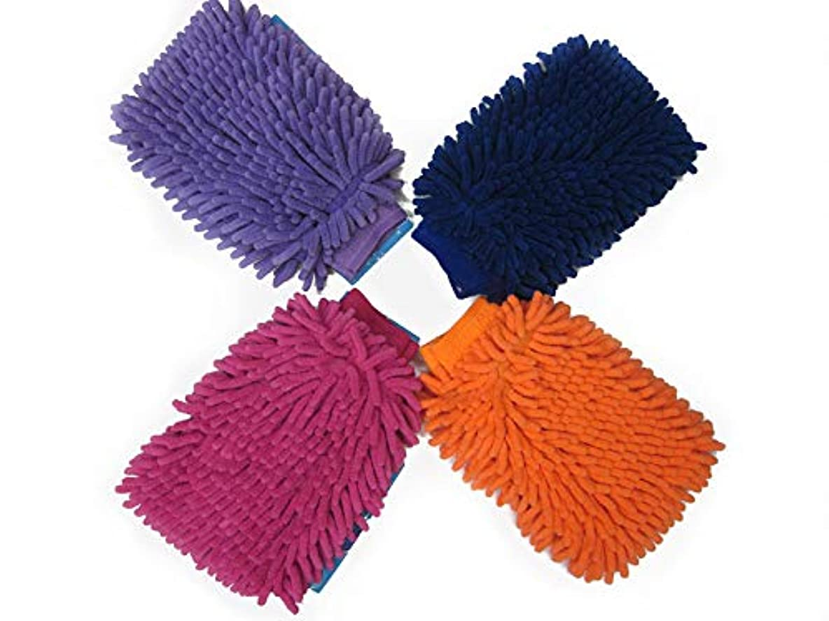 BTXXYJP 車の窓掃除道具ホームクリーニングクリーニング手袋極細繊維シェニールマイクロファイバーカーウォッシュグローブ、10ペア (Color : Blue)