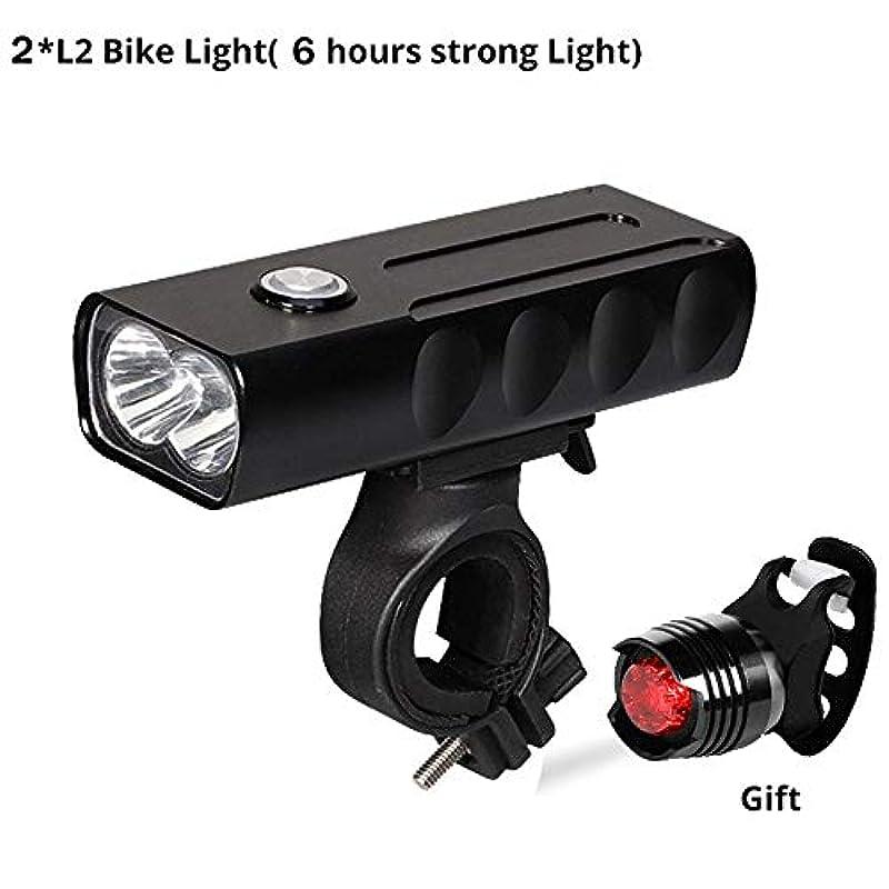 熟考する発掘する見る人USB充電式自転車ライト 新しい自転車のライトフロントとバック、USB充電式スーパーブライト800ルーメン2 LEDマウンテン/ロード自転車用ヘッドライトランプ無料テールライトセット、サイクリングセーフティ懐中電灯、簡単インストール (Color : L2-6 hour)