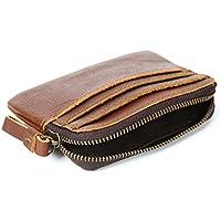 LDUNDUN-BAG, 2019 Men's Wallet Coin Wallet Retro Crazy Horse Leather Short Zipper Wallet (Color : Orange, Size : S)