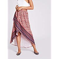 INFASHION Women's Multicolor Casual Daisy Print Overlap Hem Skirt with Asymmetrical Mid W