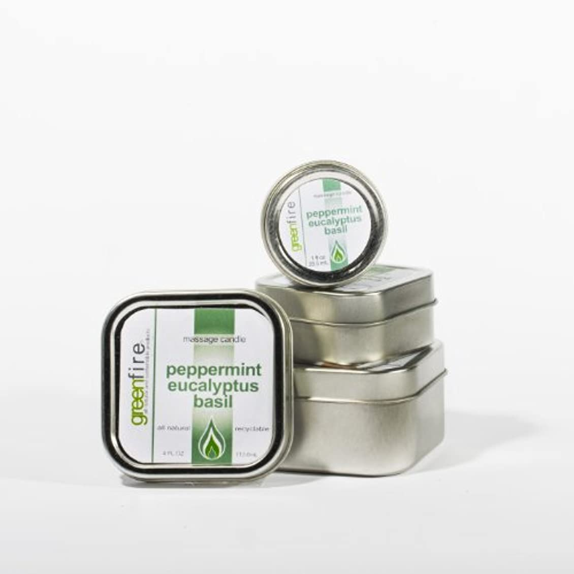 覆す安全でない一貫性のないグリーンファイヤーマッサージキャンドル/3パック入り ペパーミント?ユーカリ?バジルの香り(サイズ:29.6mL、59.1mL、118.3mL)