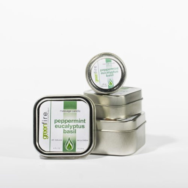 たまに従来の奇妙なグリーンファイヤーマッサージキャンドル/3パック入り ペパーミント?ユーカリ?バジルの香り(サイズ:29.6mL、59.1mL、118.3mL)